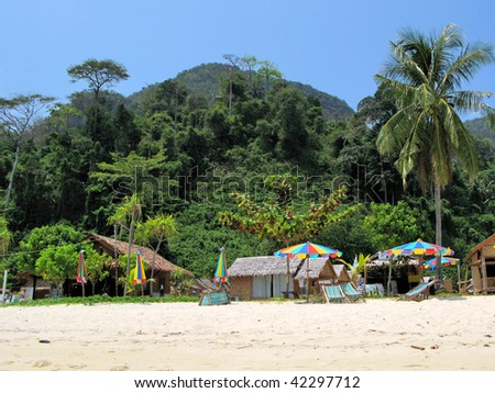 Tropical beach of Phi-Phi island, Thailand - stock photo
