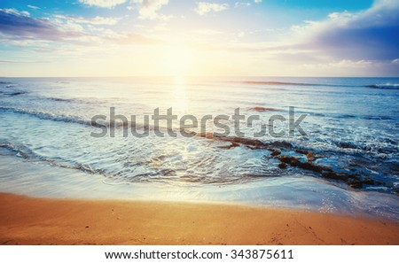 Tropical beach on sandy beach - stock photo