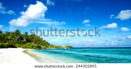 tropical beach panorama - stock photo
