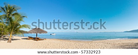 Tropical beach panorama with deckchairs, umbrellas, boats and palm tree