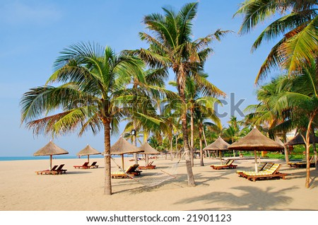 Tropical beach paradise of Sanya in Hainan Province, south China.