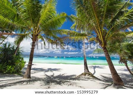 Tropical beach, Philippines, Boracay Island - stock photo