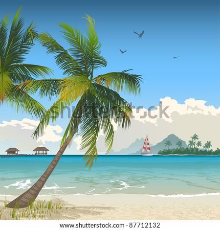 Tropical beach. Rasterized version. - stock photo