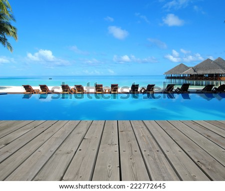 Tropical beach resorts with seascape view - stock photo