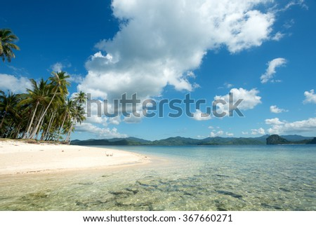 Tropical Beach Scene in El Nido, Palawan, The Philippines - stock photo
