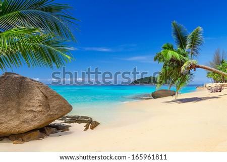 Tropical beach scenery in Thailand - stock photo
