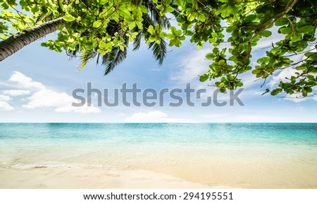 Tropical beach seascape beautiful nature - stock photo