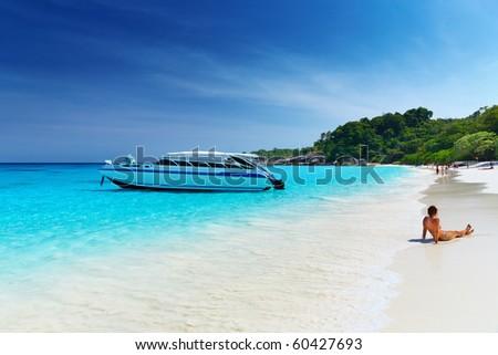 Tropical beach, Similan Islands, Andaman Sea, Thailand - stock photo