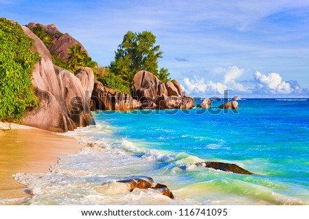 Tropical beach Source D'Argent at Seychelles - vacation background - stock photo
