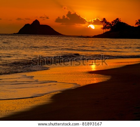 Tropical Beach Sunrise - Kailua Beach, Oahu Hawaii - stock photo
