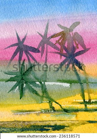 Tropical beach. Sunset. Watercolor. - stock photo