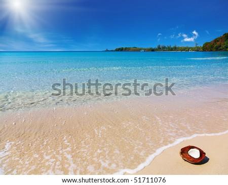 Tropical beach, Thailand - stock photo