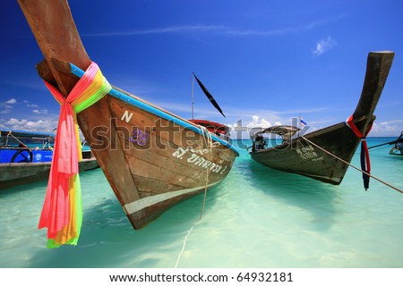 Tropical beach, traditional long tail boat, Poda Bay, Thailand - stock photo