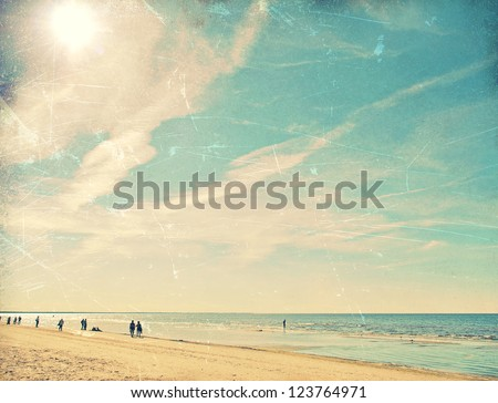 Tropical beach vintage background - stock photo