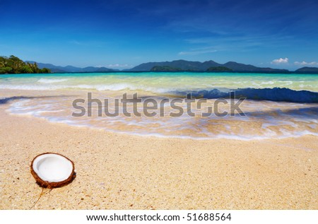 Tropical beach, Wai island, Thailand - stock photo