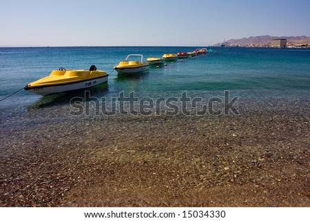 Tropical Beach with boats - stock photo
