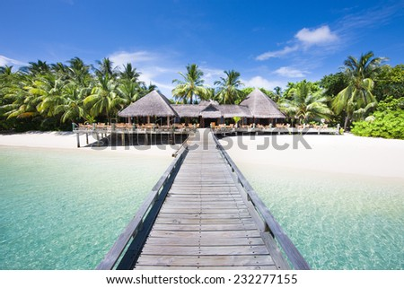 Tropical Beach with Coconut Palm Trees, panoramic view. Maldives. - stock photo