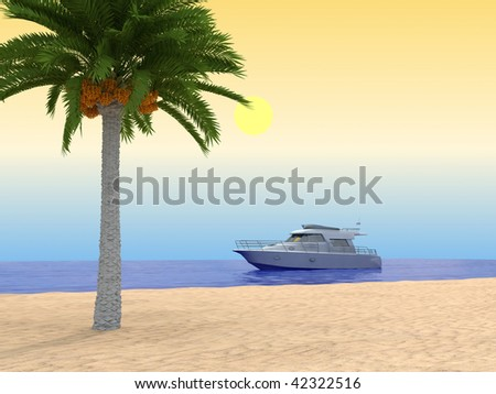 Tropical beach. With palm and ship. 3d render. - stock photo