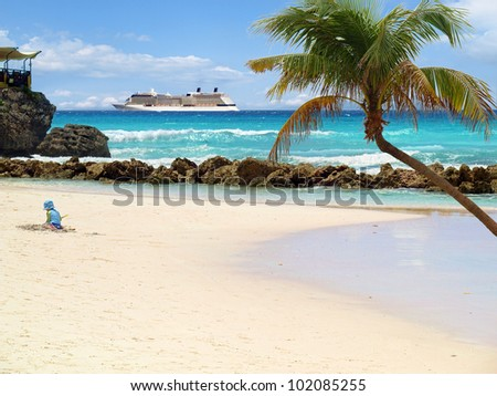 Tropical beach with palm tree and cruise ship in distance - stock photo