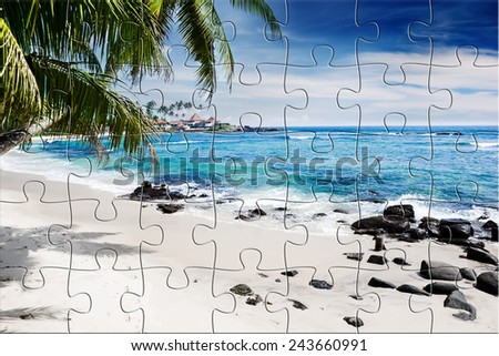 Tropical beach with palm trees. Beautifull sea nature. Puzzle background - stock photo