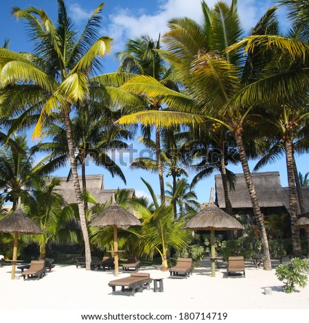Tropical beach with palm trees in front of a hotel, Mauritius - stock photo