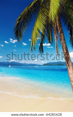 Tropical beach with palms and azure water, Thailand - stock photo