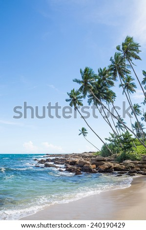 Tropical beach with rocks, coconut palm trees, sandy beach and ocean. Rocky Point, Tangalle, Southern Province, Sri Lanka, Asia.