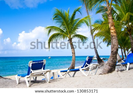 Tropical beach with sea wave on the sand and palm trees