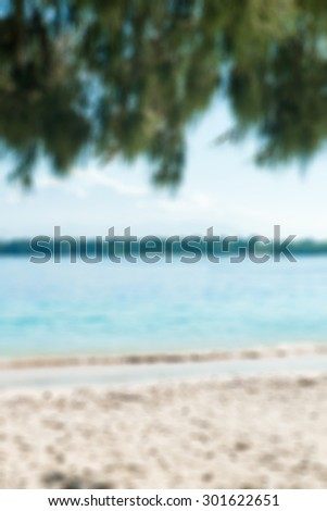 Tropical beach with white sand and green tree branches on top - stock photo
