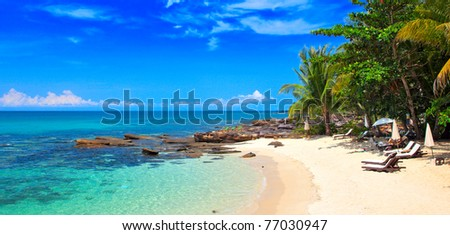 Tropical beach with white sand and palm trees - stock photo