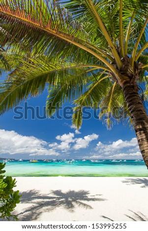 Tropical beach with white sand, Philippines, Boracay Island - stock photo