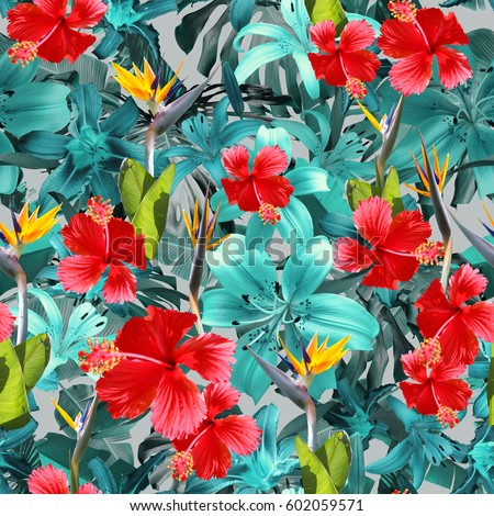 Tropical Blue Floral Pattern Leafs And Red Hibiscus Exotic Plants Background Blossom Flowers