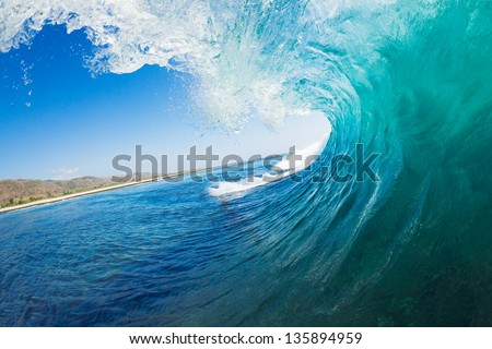 Tropical Blue Ocean Wave - stock photo