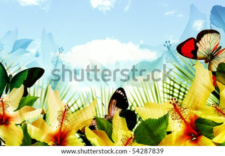 tropical blue sky scenic landscape with fern palm leaves, hibiscus flowers and floating butterflies. - stock photo