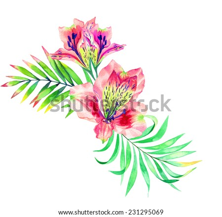 tropical bouquet isolated on white. watercolor illustration of palm leaves and alstroemeria flowers.  - stock photo