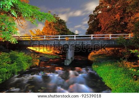 Tropical Bridge by Night Queensland - stock photo