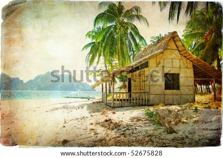 tropical bugalow -retro styled picture - stock photo