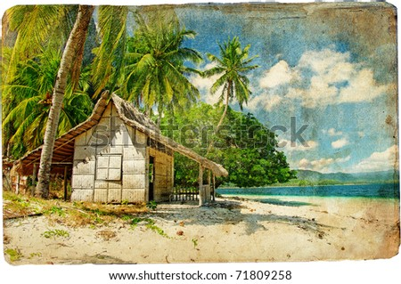tropical bungalow-retro styled picture - stock photo