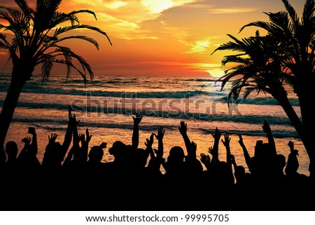 Tropical celebration and beach party concept, perfect for spring break and tropical getaway projects. - stock photo