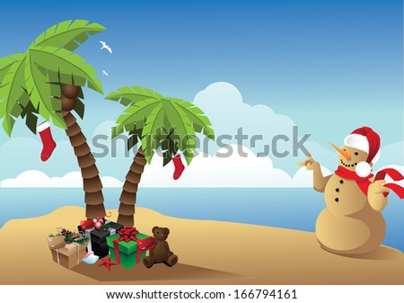 Tropical Christmas Background. jpg. - stock photo