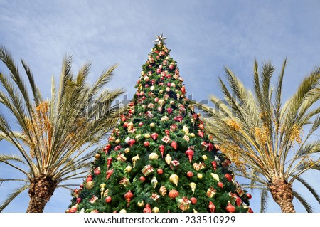 Tropical Christmas - Christmas tree and palm trees on sky background - stock photo