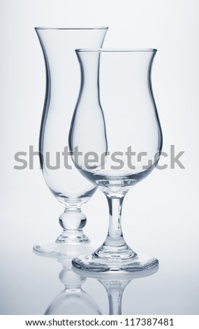 Tropical cocktail glasses. Blue toned