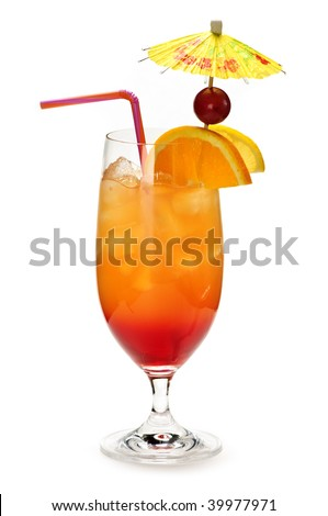 Tropical cocktail in glass isolated on white background with umbrella - stock photo
