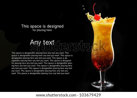 Tropical cocktail isolated on black background with cocktail cherry and orange - stock photo