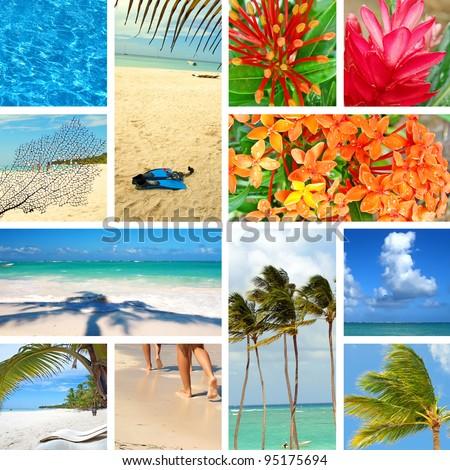 Tropical collage. Exotic travel. Caribbean sea Dominican Republic Island Saona - stock photo