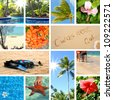 Tropical collage. Exotic travel. Summertime theme photo - stock vector