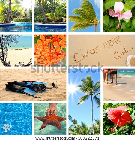 Tropical collage. Exotic travel. Summertime theme photo - stock photo