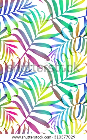 Tropical colorful palm leaves. seamless stylish fashion floral pattern, in Hawaiian style - stock photo
