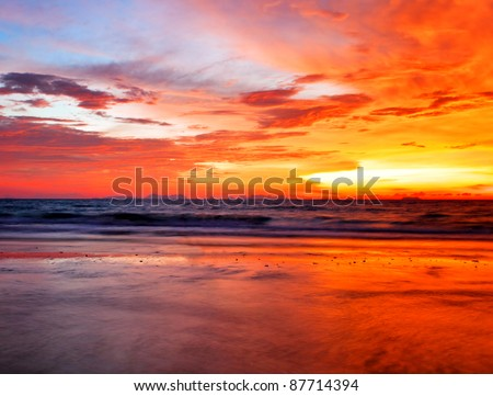 Tropical colorful sunset at the beach. Thailand - stock photo