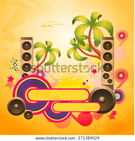 Tropical disco dance textured background with music and fantasy design elements - stock photo
